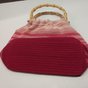 none Bags - Pink striped purse with wooden handles snap close